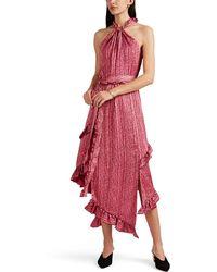 10 Crosby Derek Lam Striped Floral Crepe Halter Dress - Pink