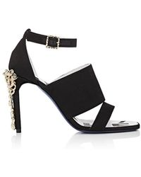 Koche Jeweled-heel Satin Sandals - Black