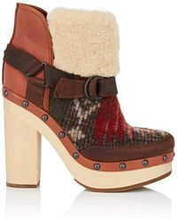 Woolrich - Shearling & Leather Ankle Boots - Lyst