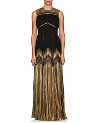 J. Mendel - Silk-blend Lamé & Chiffon Sleeveless Gown - Lyst