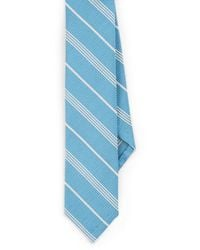 Thom Browne Striped Silk-cotton Necktie - Blue