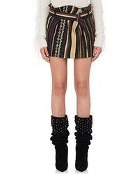 Saint Laurent - Ikat Striped Silk-blend Belted Miniskirt - Lyst
