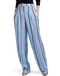 PT01 Ada Striped Pleated Pyjama Trousers - Blue