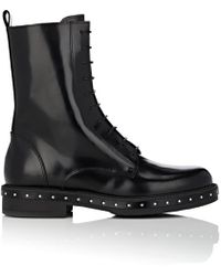 Barneys New York - Stud-detailed Spazzolato Leather Combat Boots - Lyst