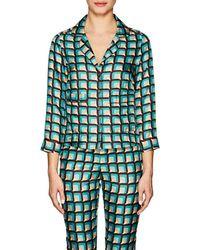 Barneys New York - Geometric Silk Pyjama Blouse Size 38 It - Lyst
