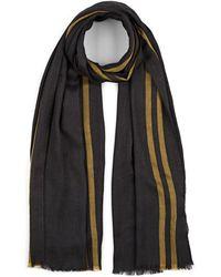 Barneys New York Striped Cashmere-silk Blend Scarf - Black