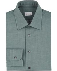 Brioni - Mélange Cotton Twill Shirt - Lyst