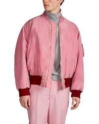 CALVIN KLEIN 205W39NYC Logo Dirty Cotton Canvas Bomber Jacket - Pink