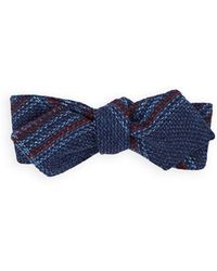 Alexander Olch Plaid Basket-weave Wool Bow Tie - Blue