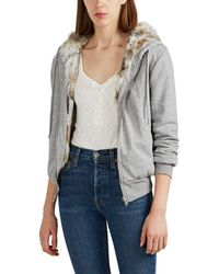 Barneys New York - Fur-lined Cotton Hoodie - Lyst