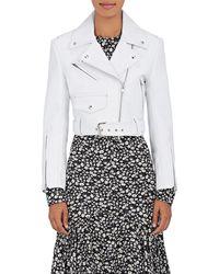 CALVIN KLEIN 205W39NYC Leather Moto Jacket - White