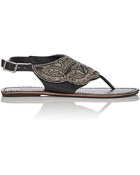 OndadeMar Embroidered Leather Sandals - Multicolour