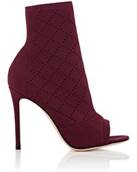 Gianvito Rossi Perforated Knit Ankle Boots - Purple