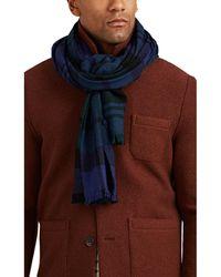 Drake's Plaid Wool Scarf - Blue