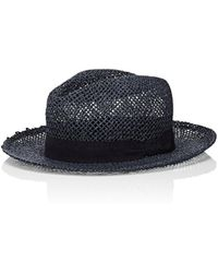 Barneys New York Alessandria Art Straw Fedora - Blue