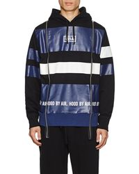 Hood By Air Logo Striped Cotton Terry Hoodie - Blue