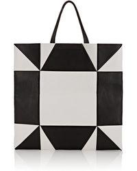CALVIN KLEIN 205W39NYC Oversized Geometric Leather Tote Bag - Black