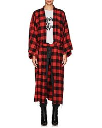 NSF Hannah Checked Cotton Robe Coat - Red