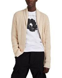 Barneys New York Honeycomb-knit Cotton Shawl-collar Cardigan - Natural