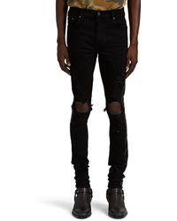 Amiri Broken Skinny Track Jeans - Black