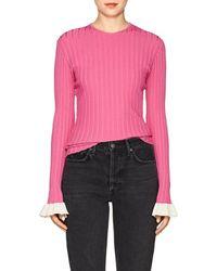 Esteban Cortazar Contrast-cuff Rib-knit Sweater - Pink