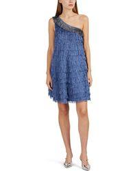 Cynthia Rowley - Fringed Silk One-shoulder Minidress - Lyst
