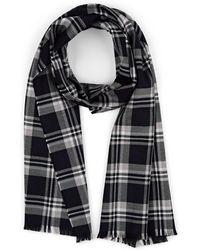 Barneys New York Self-fringed Wool Plaid Scarf - Black