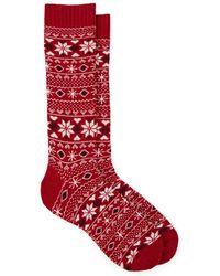 Barneys New York Fair Isle Mid-calf Socks - Red