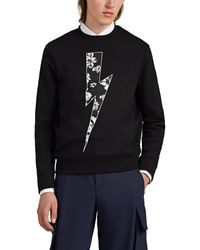 Neil Barrett Floral-bolt Cotton Terry Sweatshirt - Black