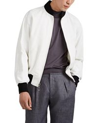 Ralph Lauren Purple Label Cotton-linen Baseball Jacket - White