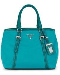 Prada Leather-trimmed Shoulder Bag - Blue
