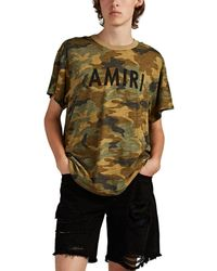 Amiri Distressed Camouflage Cotton T-shirt - Green