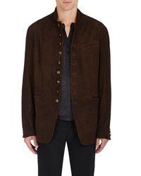 John Varvatos | Flannel Suede Cutaway Jacket | Lyst