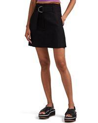 A.L.C. Bryce Belted Linen-blend Miniskirt - Black