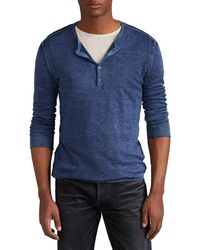 John Varvatos Silk-cashmere Henley Sweater - Blue