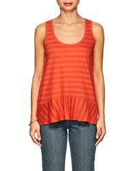 Lilla P Striped Pima Cotton-blend Peplum Tank - Orange