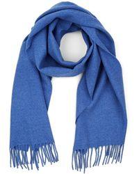 Barneys New York Fringed Wool Scarf - Blue