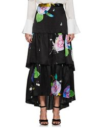 Cynthia Rowley - Floral Silk Tiered Maxi Skirt Size 0 - Lyst