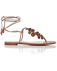 Gianvito Rossi - Ruffled Suede Thong Sandals - Lyst