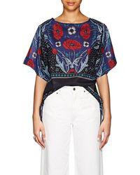 Warm Side-tie Floral Cotton-silk Blouse - Blue