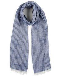 Barneys New York Striped Linen-silk Scarf - Blue