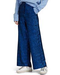 PT01 Juliet Sequined Wide-leg Trousers - Blue