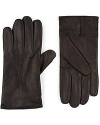 Barneys New York Cashmere-lined Leather Gloves - Black
