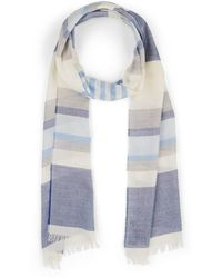 Barneys New York Striped Cotton-cashmere Scarf - Blue
