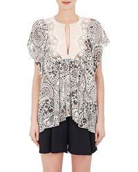 Chloé - Floral Silk Short-sleeve Blouse - Lyst