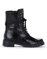 Barneys New York Patent Leather Ankle Boots - Black