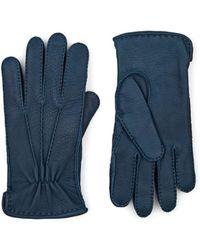 Barneys New York Cashmere-lined Deerskin Gloves - Blue