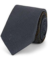 Title Of Work Embroidered Textured-silk Necktie - Gray