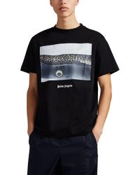 Palm Angels Photo-print Cotton T-shirt - Black