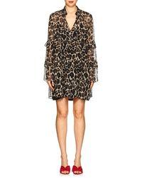 Robert Rodriguez Leopard Silk Chiffon Shift Dress - Black